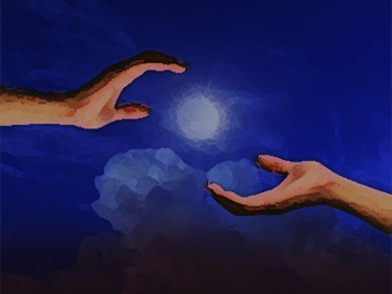 Two hands reaching towards sun and each other