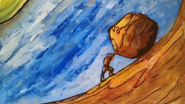 king-sisyphus, water color