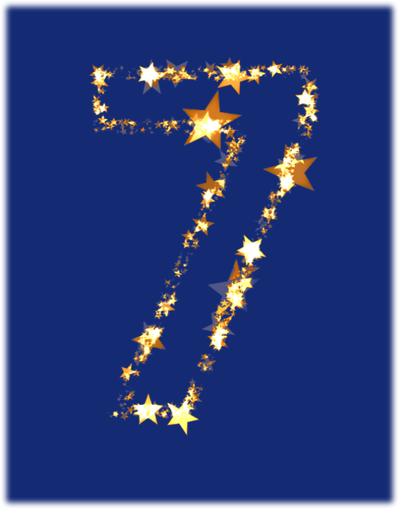 The number 7 on a blue background