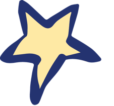 small yellow star with blue outline