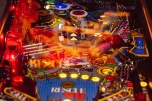 Close up of a pinball machine