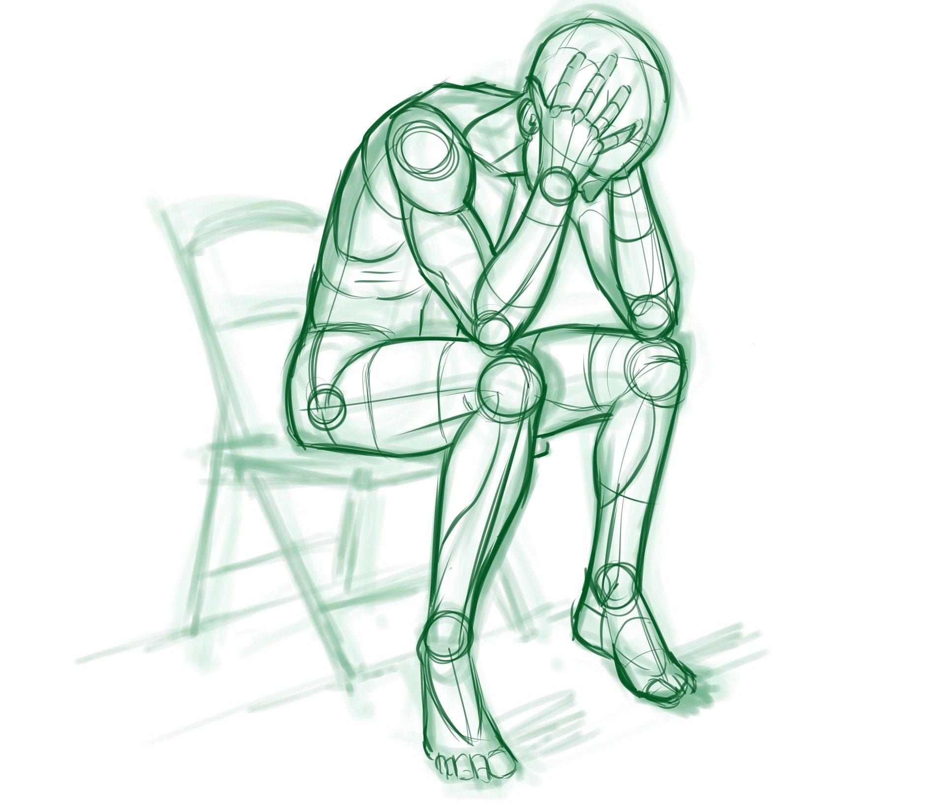 Green drawn outline of person in chair holding head in frustration