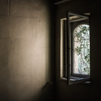 Inside old fashioned wall with open window to plants and sun