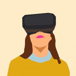 Computerized drawing of woman looking up through virtual reality glasses
