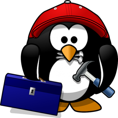 Penguin with tool kit illustration